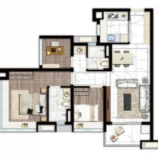 建面77平三房两厅户型