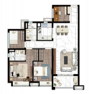 建面107平四房两厅户型