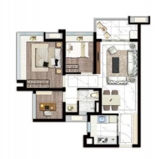 建面68平三房两厅户型