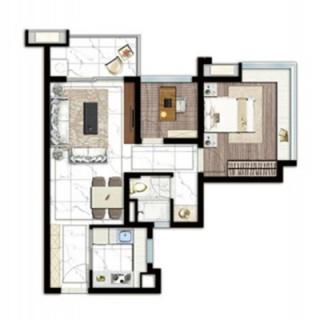 建面61平两房两厅户型