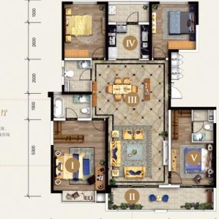 135㎡四室两厅户型