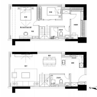 三室两厅两卫74㎡