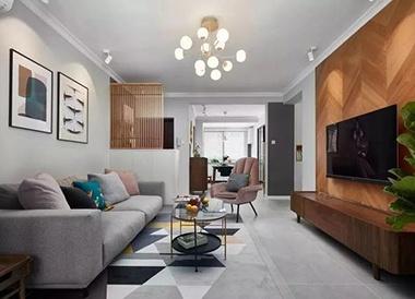 客厅木地板背景墙和阳台瓷砖真漂亮